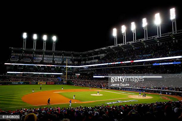 General view as Trevor Bauer of the Cleveland Indians throws a pitch to Dexter Fowler of the Chicago Cubs during the first inning in Game Two of the...