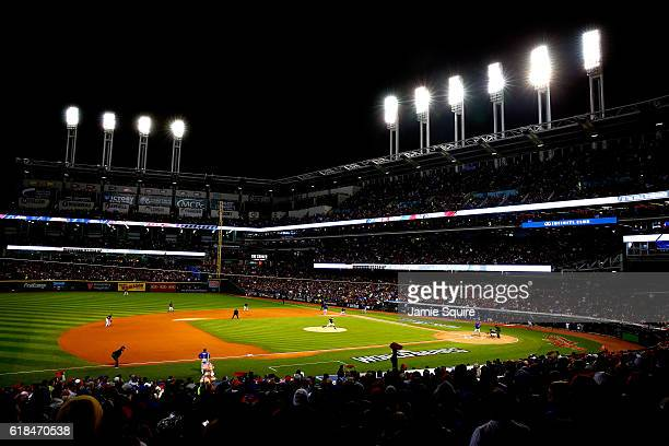 General view as Trevor Bauer of the Cleveland Indians throws a pitch during the first inning against the Chicago Cubs in Game Two of the 2016 World...