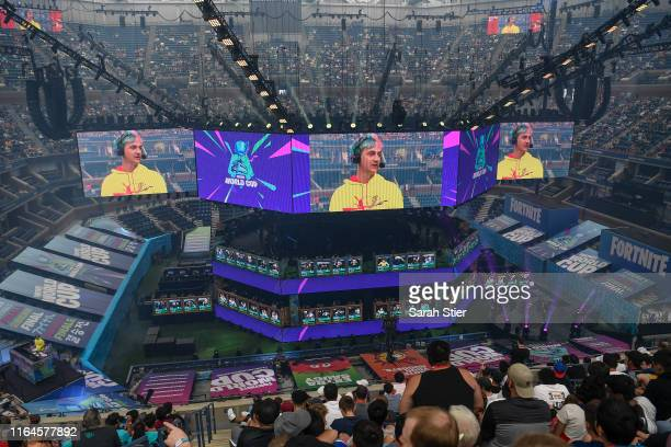 General view as Tyler Ninja Blevins hosts day two of the Fortnite World Cup Finals at Arthur Ashe Stadium on July 27 2019 in the Queens borough of...