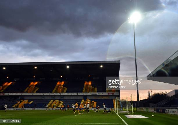 General view as Tyrese Sinclair of Mansfield Town scores his teams first goal during the Sky Bet League Two match between Mansfield Town and Newport...