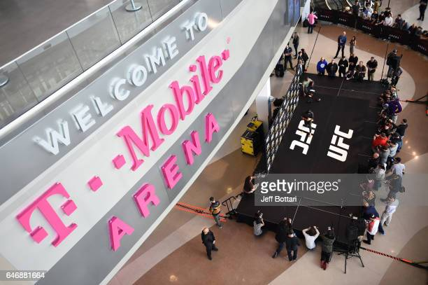A general view as Tyron Woodley holds an open workout for fans and media inside TMobile Arena on March 1 2017 in Las Vegas Nevada