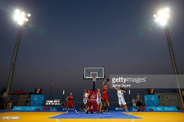A general view as Ukraine competes against Belgium in the Women's 3x3 Basketball preliminaries during day twelve of the Baku 2015 European Games at...