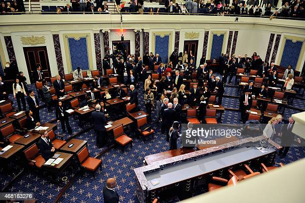 A general view as United States Vice President Jospeh Biden presides over the Senate Chamnber Dedication Ceremony in the the full scale replica of...
