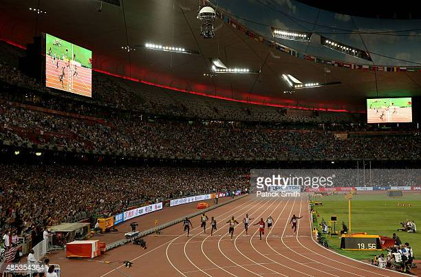 General view as Usain Bolt of Jamaica crosses the finish line to win gold in the Men's 200 metres final during day six of the 15th IAAF World...