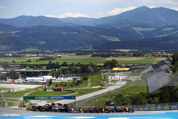 General view as Valtteri Bottas of Finland driving the Mercedes AMG Petronas F1 Team Mercedes W11 leads during the Formula One Grand Prix of Austria...