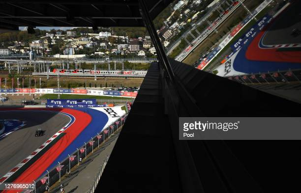 General view as Valtteri Bottas of Finland driving the Mercedes AMG Petronas F1 Team Mercedes W11 drives on track during the F1 Grand Prix of Russia...