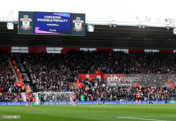 General view as VAR checks for a potential penalty during the Premier League match between Southampton FC and Newcastle United at St Mary's Stadium...