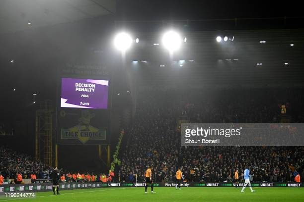 General view as VAR overturns a penalty for Manchester City during the Premier League match between Wolverhampton Wanderers and Manchester City at...