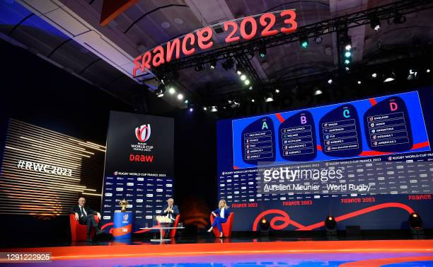 General view as Vice-Chairman of World Rugby Bernard Laporte and Chief Executive Officer- Rugby World Cup France 2023 Claude Atcher are interviewed...