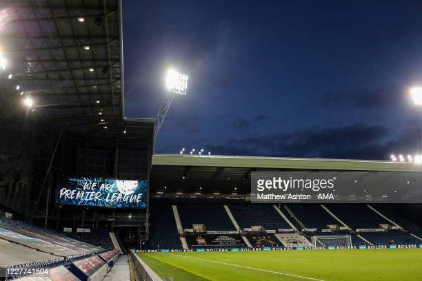 General view as We Are Premier League is seen on a giant LED screen as promotion is confirmed during the Sky Bet Championship match between West...