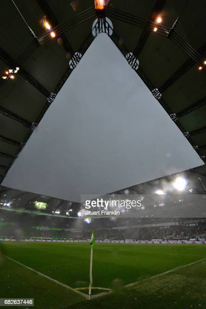 A general view as weather stops play during the Bundesliga match between VfL Wolfsburg and Borussia Moenchengladbach at Volkswagen Arena on May 13...