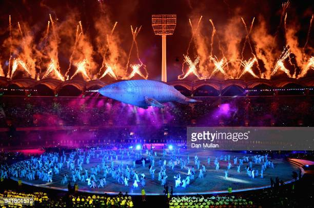 A general view as White Whale Migaloo is seen during the Opening Ceremony for the Gold Coast 2018 Commonwealth Games at Carrara Stadium on April 4...