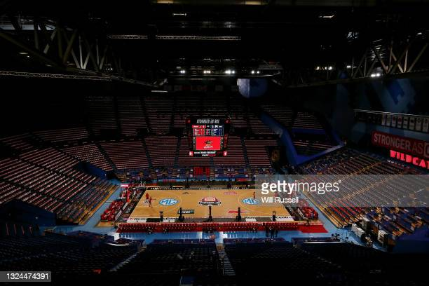 General view as Wildcats players practice shooting before game two of the NBL Grand Final Series between the Perth Wildcats and Melbourne United at...