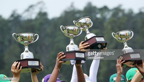 General view as winners hoist their trophies during the Drive, Chip and Putt Championship at Augusta National Golf Club on April 07, 2019 in Augusta,...