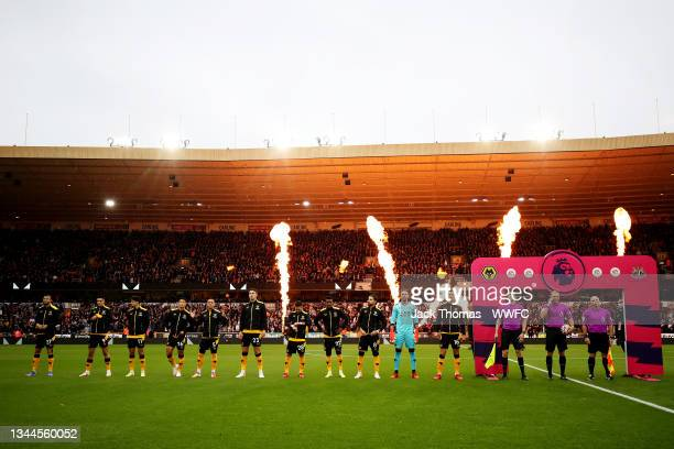 General view as Wolverhampton Wanderers players line up ahead of the Premier League match between Wolverhampton Wanderers and Newcastle United at...