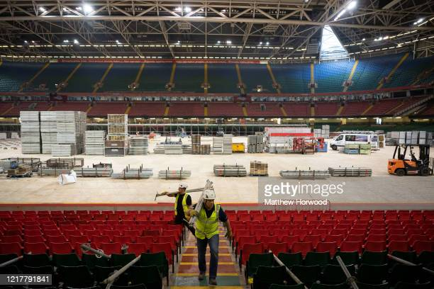 General view as workers prepare the Dragon's Heart hospital on April 9 in Cardiff, Wales. The Principality Stadium is being converted into 2000-bed...