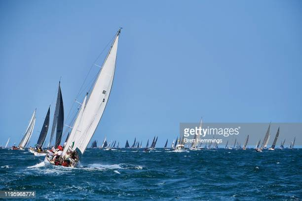 A general view as Yachts leave Sydney Harbour during the 2019 Sydney to Hobart on December 26 2019 in Sydney Australia