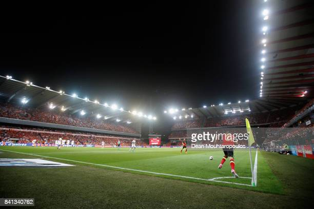 A general view as Yannick Carrasco of Belgium takes a quick corner during the FIFA 2018 World Cup Qualifier between Belgium and Gibraltar at Stade...