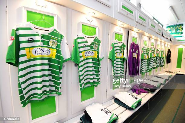 General view as Yeovil Town shirts hang from the changing room during the Sky Bet League Two match between Yeovil Town and Chesterfield at Huish Park...