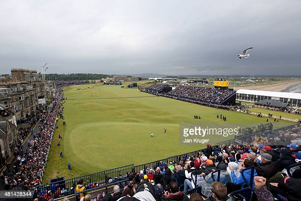 A general view as Zach Johnson of the United States celebrates a birdie putt on the 18th green during the final round of the 144th Open Championship...