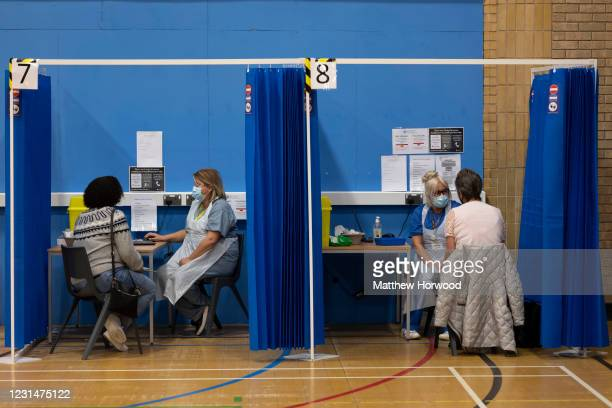 General view at a mass vaccination centre at Holm View Leisure Centre on March 2, 2021 in Barry, Wales. One million doses of the coronavirus vaccine...