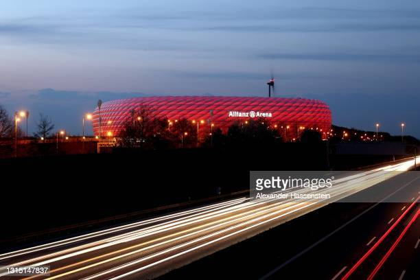 General view at Allianz Arena on April 28, 2021 in Munich, Germany.