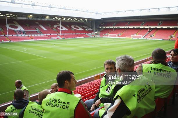 A general view at Anfield stadium before the Barclays Premiership match between Liverpool and Newcastle United at Anfield on September 20 2006 in...