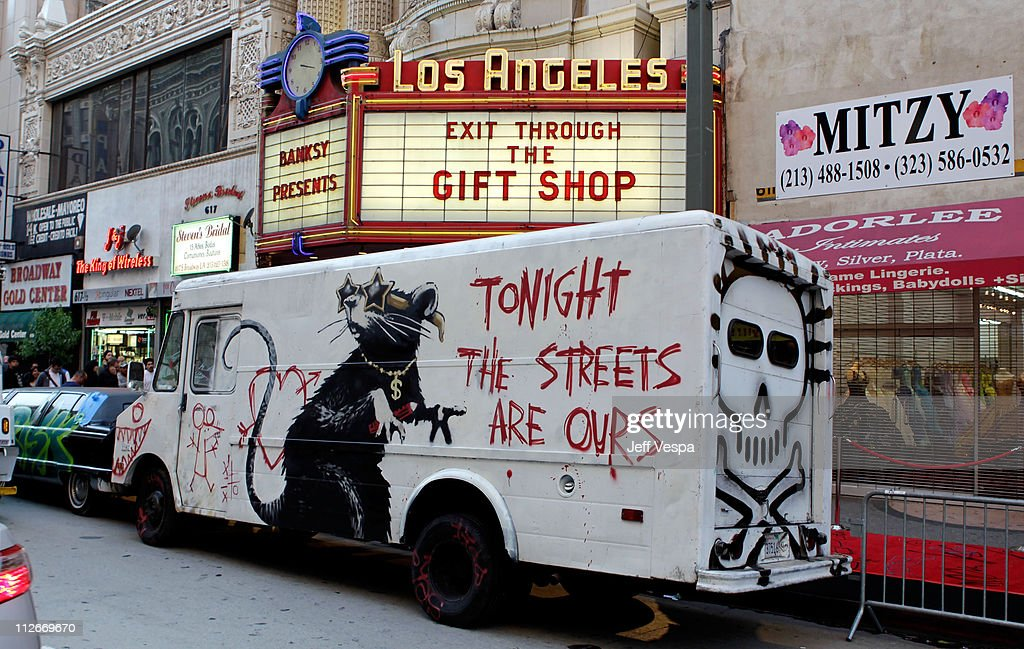 General view at Banksy's 'Exit Through The Gift Shop' premiere at Los Angeles Theatre on April 12, 2010 in Los Angeles, California.