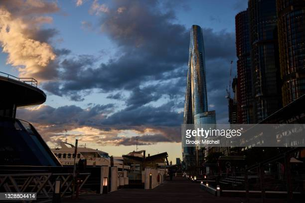 General view at Darling Harbour on July 15, 2021 in Sydney, Australia. Lockdown restrictions have been extended for at least a further two weeks as...
