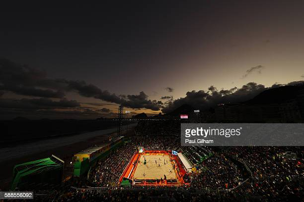 General view at dusk as Phil Dalhausser and Nicholas Lucena of United States play against Paolo Nicolai and Daniele Lupo of Italy during the Beach...