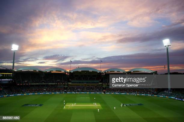 A general view at dusk during day four of the Second Test match during the 2017/18 Ashes Series between Australia and England at Adelaide Oval on...