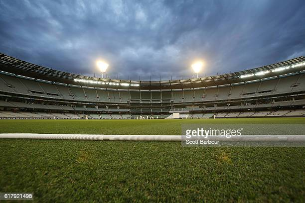 A general view at dusk during day one of the daynight Sheffield Shield match between Victoria and Tasmania at the Melbourne Cricket Ground on October...