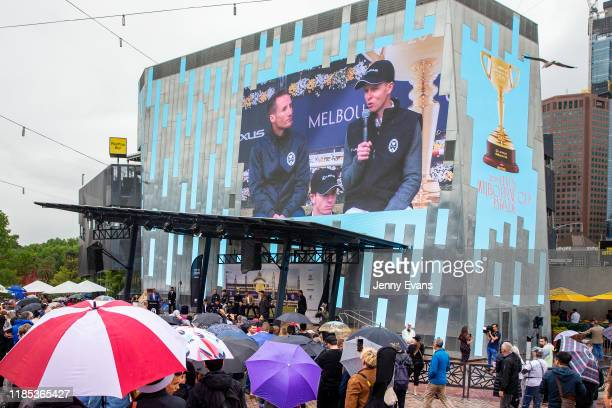 General view at Federation Square during the 2019 Melbourne Cup Parade on November 04, 2019 in Melbourne, Australia.