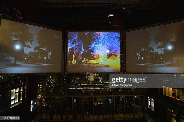General view at HUGO BOSS celebrates Columbus Circle BOSS flagship opening featuring premiere of 'Anthropocene' by Marco Brambilla on September 24...