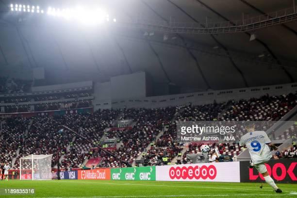 A general view at Khalifa International Stadium host venue of FIFA World Cup Qatar 2022 as Sebastian Giovinco of Al Hilal takes a corner during the...