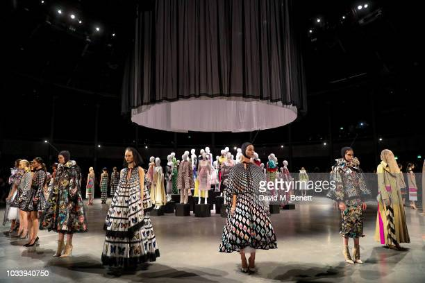 A general view at Mary Katrantzou SS19 show production by Family Limited on September 15 2018 in London England
