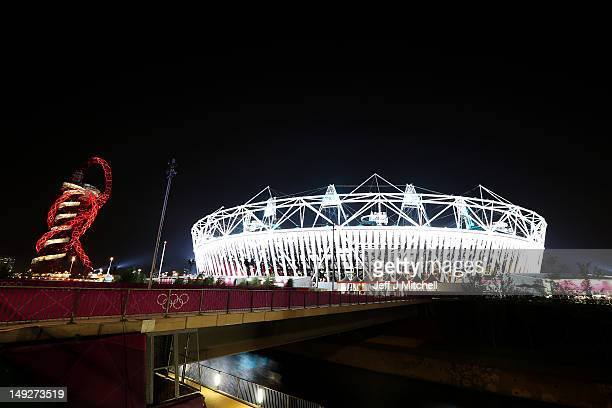 A general view at night of the ArcelorMittal Orbit and the Olympic stadium during an Opening Ceremony rehearsal ahead of the London 2012 Olympics in...