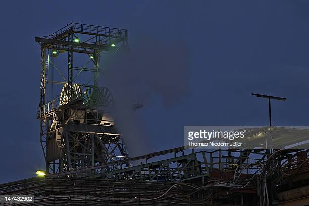 A general view at night of the Bergwerk Saar coal mine on the last day of the mine's operation on June 29 2012 in Ensdorf Germany Operated by RAG AG...