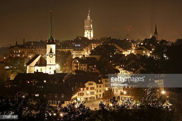 General view at night of the city of Bern, Switzerland on October 17, 2007 in Bern, Switzerland.