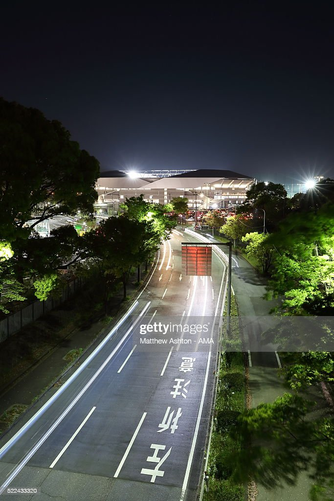 A general view at night of the exterior of the home of Gamba Osaka, the Suita City Football Stadium after the AFC Champions League Group G match between Gamba Osaka and Suwon Samsung Bluewings at Suita City Football Stadium on April 19, 2016 in Osaka, Osaka, Japan.