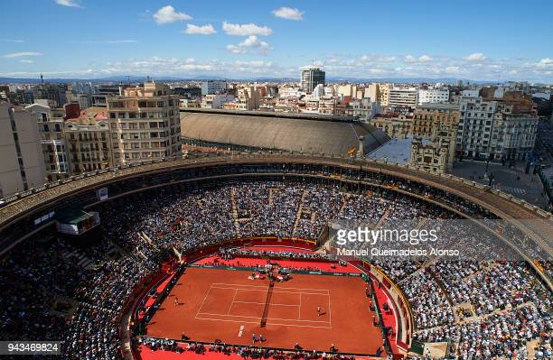 A general view at Plaza de Toros de Valencia during day three of the Davis Cup World Group Quarter Final match between Spain and Germany at Plaza de...