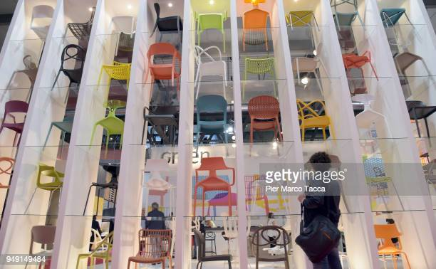 A general view at Salone Del Mobile during Milan Design Week at Fiera Milano Rho on April 20 2018 in Milan Italy