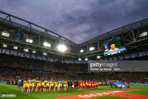 General view at Spartak Stadium as both teams line up for the national anthems during the 2018 FIFA World Cup Russia Round of 16 match between...