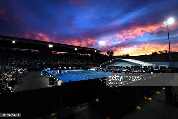 A general view at sun set during day one of the 2019 World Tennis Challenge at Memorial Drive on January 7 2019 in Adelaide Australia