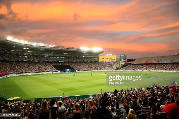 A general view at sunset 1during the International Twenty20 match between New Zealand and Sri Lanka at Eden Park on January 11 2019 in Auckland New...