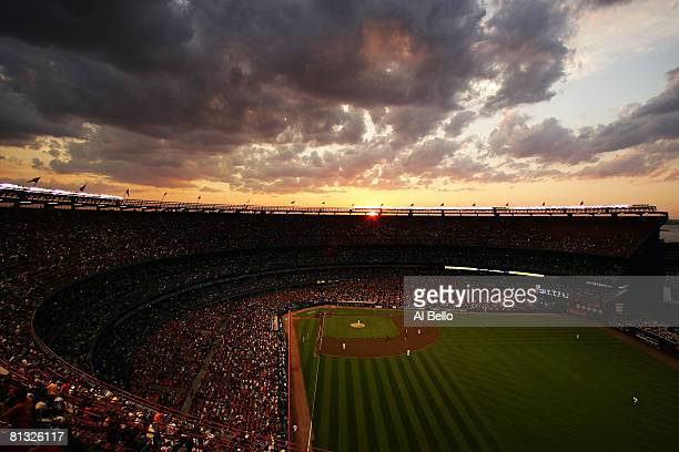 General view at sunset as Johan Santana of the New York Mets pitches against the Los Angeles Dodgers on June 1, 2008 at Shea Stadium in the Flushing...