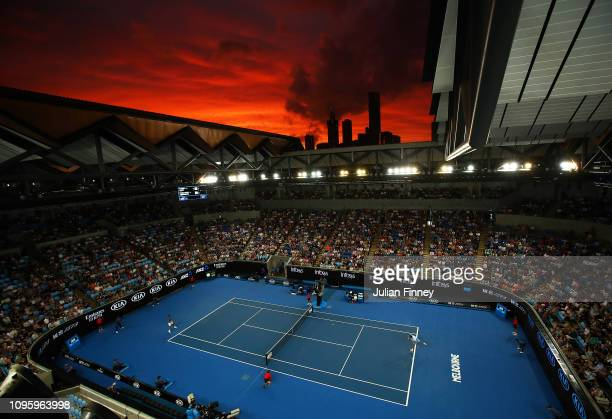 A general view at sunset as Marin Cilic of Croatia plays Fernando Verdasco of Spain during day five of the 2019 Australian Open at Melbourne Park on...