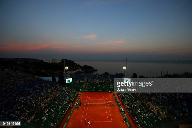 A general view at sunset as Richard Gasquet of France plays Alexander Zverev of Germany during day six of the ATP Masters Series Monte Carlo Rolex...