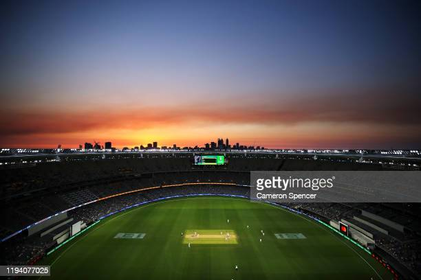 General view at sunset during day four of the First Test match in the series between Australia and New Zealand at Optus Stadium on December 15, 2019...