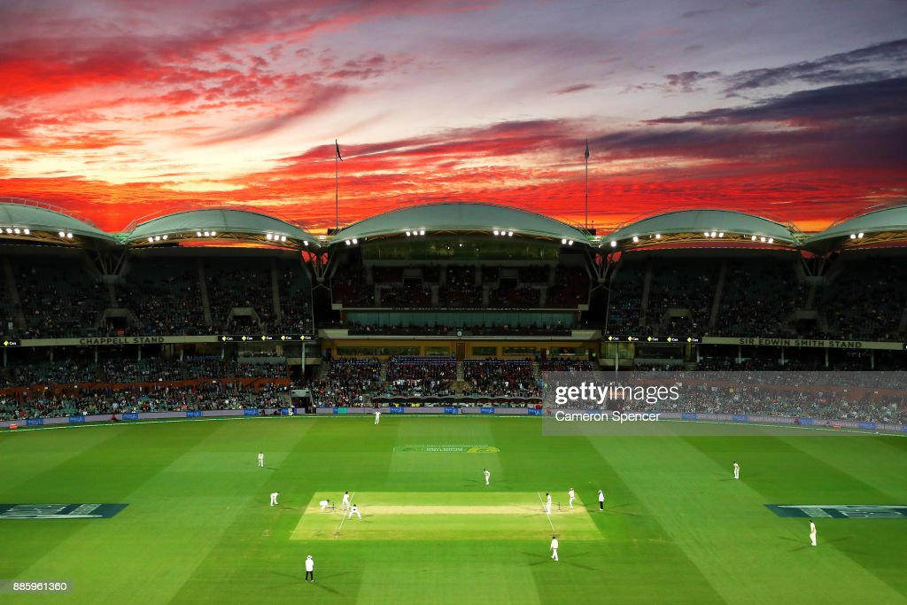 A general view at sunset during day four of the Second Test match during the 2017/18 Ashes Series between Australia and England at Adelaide Oval on December 5, 2017 in Adelaide, Australia.